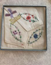 Vintage Easter Greetings Handkerchiefs embroidered set of three