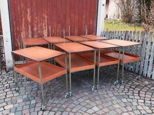 alter Metall Werkstattwagen Rollwagen Industrie Design Loft Servierwagen