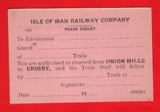 Train Ticket ~ Isle of Man Railway - Authority to Proceed: Union Mills to Crosby