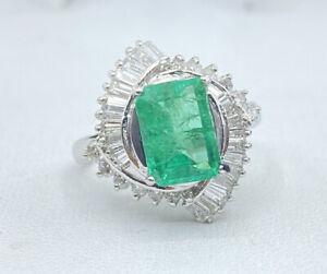 2.95 ct NATURAL DIAMOND columbian emerald halo solitaire ring PLATINUM  (VIDEO)