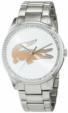 Lacoste Victoria Stainless Steel White Dial Crystal Studded Womens Watch 2000972