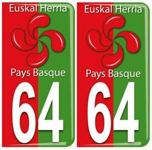 2 Stickers Résine 3D Plaques Immatriculation Pays Basque 64 Euskal Herria