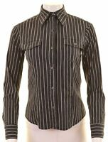 REPLAY Womens Shirt Size 6 XS Black Striped Loose Fit  I210