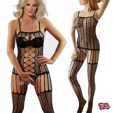 UK 16 18 20 22 24 26 PLUS + rete aperta bust un body lingerie Catsuit 43P