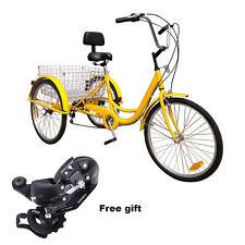 "24"" 3 Wheel Adult Tricycle Basket Trike Cruise 6 Speed Elderly Shopping Cart"