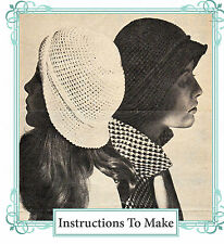 Vintage crochet pattern- how to make this 1960s hippy mod 1920s style cloche hat