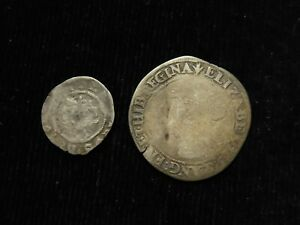 English Hammered Silver (2): Henry the ? Penny & Elizabeth I Sixpence 1561 Pheon