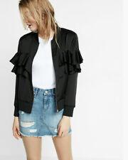 Nwt express ruffle motto black  jacket coat cardigan small S 06774951