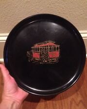 Couroc San Francisco Cable Car Brass Inlay Round Serving Tray w/ ORIGINAL TAG!