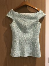 JANE NORMAN BOAT NECK LIGHT GREEN&WHITE WOMEN TOP size 6
