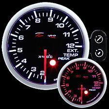 Manometro Temperatura Gas Di Scarico 200-1200° EGT DEPO Racing Nero Rosso Bianco