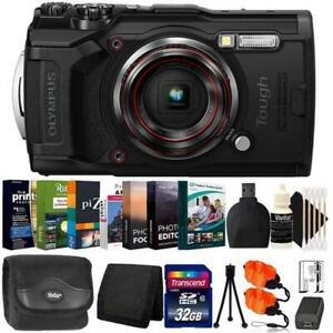 Olympus Tough TG-6 Digital Camera Black + 32GB Card + Photo Editor Bundle & Kit