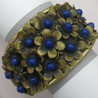 "Vtg 1930's Art Deco Czech Lapis Glass Flower Cluster 1.75"" Wide Bracelet"