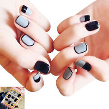 Lady Artificial Full Nails Tips Fake Matte French Manicure Nail Art 24pcs