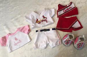 Build a Bear St. Louis Cardinals LOT: Baseball Uniform T-shirt Cheerleader Shoes