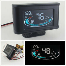12V 2 Function LCD Digital Car Truck Voltmeter+Fuel Level Gauge Meter+Cable Set