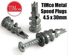 Box of 100 4.5 x 30mm TIMco Metal Speed Plugs With Pan Head Screws Self Tapping
