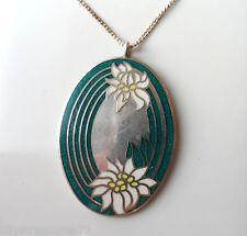 Vintage Silver Floral ENAMEL - Franklin Mint JUBILEE Pendant & Chain Necklace