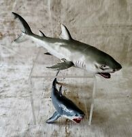2 Vintage Rubber GREAT WHITE SHARKS by Safari Ltd and AAA