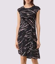 All Saints Breeze Tye Silk Asymmetric Dress in Black/Pink Size 8 BNWT £168