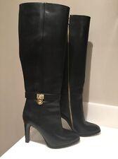 NEW $425 MICHAEL KORS Tall Hamilton High Heel Boots Black Leather Size 5 1/2