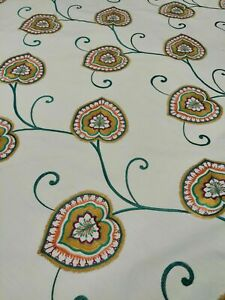 Sanderson Floral Embroidered Curtain Upholstery Fabric Per Metre