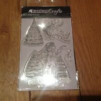Kanban ~ Christmas ~ Angel, Dove, Tree & Holly~ A6 sheet of Clear Acrylic Stamps