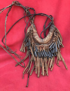 West African Vintage Ceremonial Dance Neckpiece With Metal Bell Adornments
