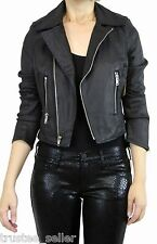 True Religion Womens Slim Biker Moto Faux Leather Zipper Jacket Black Coated