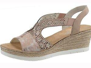 Rieker Jewel Detail Wedge Sling Back Sandal, Size 5, Pink Multi, BNWOB.
