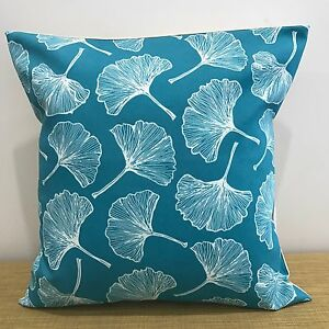 """16""""/18"""" Abstract Leaves on Teal Canvas/Cotton Cushion Cover. Made Australia"""