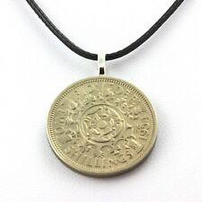 Collier pièce de monnaie Royaume-Uni 2 shillings Elizabeth II