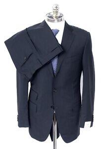NWT CARUSO Dark Heather Gray Superfine 110's Wool 3 Btn Suit 36 R (EU 46) Drop 6