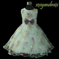 UKMD69 Ivory Flower Girls Dress Pageant Party Christmas  1, 2,3,4,5,6,7,8-10 Yrs