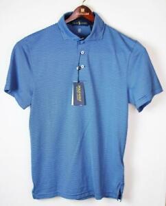 Ralph Lauren Mens S Golf Torrey Pines Polo Shirt S/S Pullover Blue Stripe $95NWT