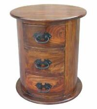 Jali Sheesham 3 Drawer Drum Chest - Thakat Oval Chest of Drawers - Bedside Chest