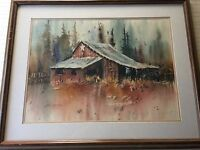 "Lex Munson Original Watercolor Landscape, Signed, Framed, 29"" x 21"" (Image)"