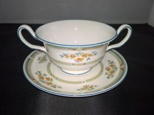 Vintage Footed Cream Soup Bowl & Saucer Set Hampshire by Wedgwood