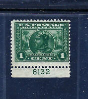 US  #397 Mint-NH 1913 Green, PERF 12, 'BALBOA' Issue Plate Number Single [PNS]