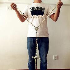 Large 20mm White howlite beads Home Wall Rosary Catholic crucifix cross Gift box