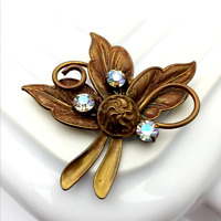 1950s Leaf Brooch Rhinestone Costume Jewellery
