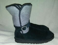 UGG Womens Nyla Black Suede VerVGray Sweater Boots  Sz 7