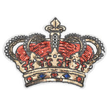 Sequin Crown Patches Iron-on Applique Sticker Embroidery Multi-color Handcrafts