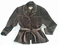 Jacket Wilsons Women's Leather Coat Size Sz M  Medium Brown Suede Tie Belt
