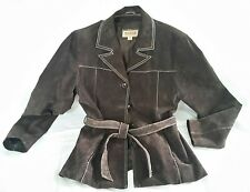 Wilson's Women's Leather Coat Jacket Size Medium Brown Suede Tie Belt Winter