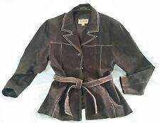 Wilsons Women's Leather Coat Jacket Size M Dark Brown Suede Tie Belt