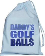 Daddy's Golf Balls - SMALL blue drawstring bag - 25cm x35cm  - SUPPLIED EMPTY