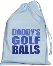 Daddy's Golf Balls - SMALL blue drawstring bag - 25cm x35cm  - SUPPLIED EMPTY