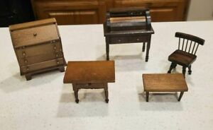 Vintage Shackman Style Dollhouse Roll top desks, tables and a chair