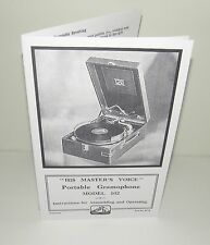 His Masters Voice HMV Portable Model 102 Gramophone Instructions  Manual